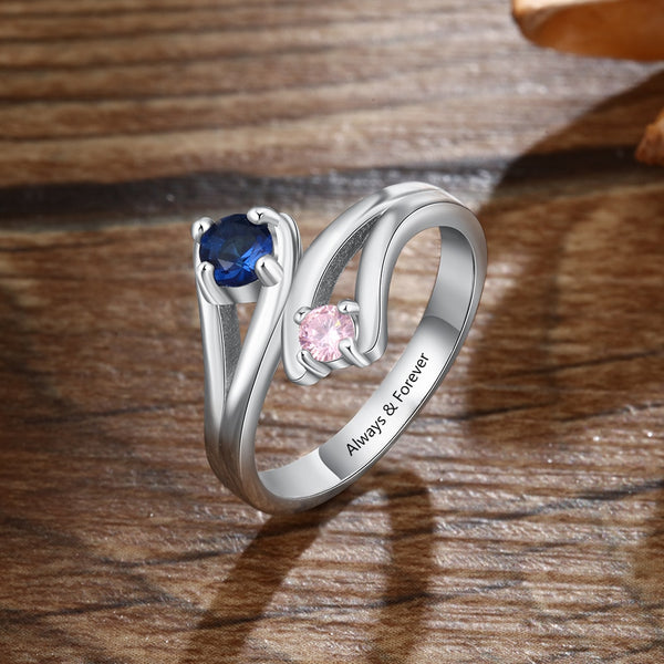 Personalized Birthstones Silver Womens Ring