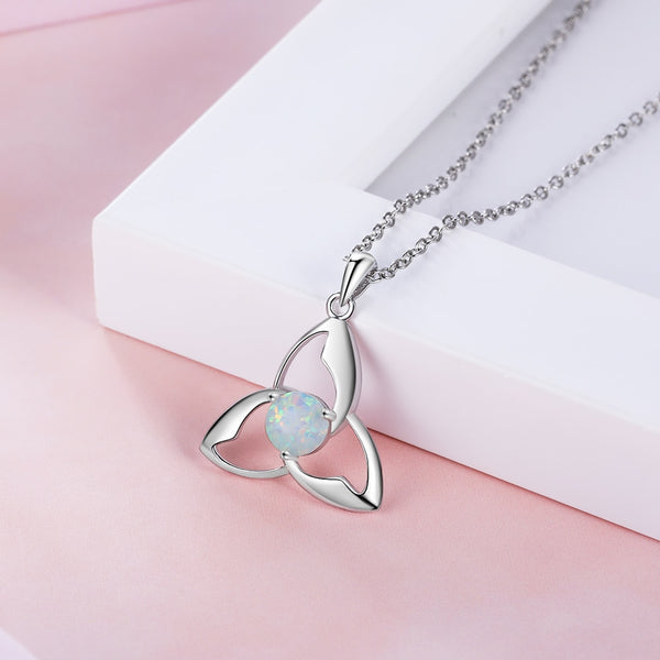 Celtic Triquetra Trinity Knot Opal Womens Necklace