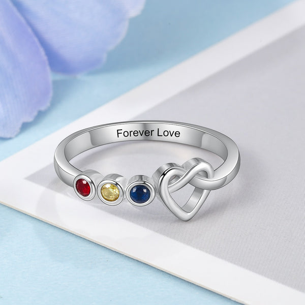 Personalized Birthstones Infinity Heart Knot Womens Ring