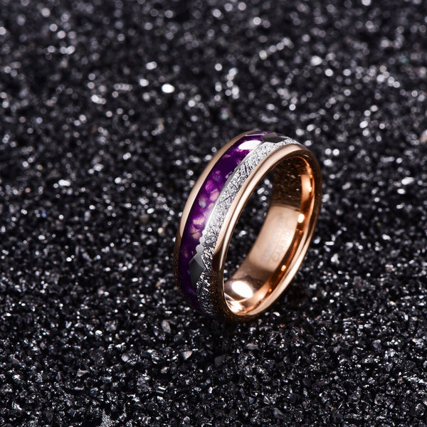 Arrow Inlay and Purple Rose Gold Tungsten Ring