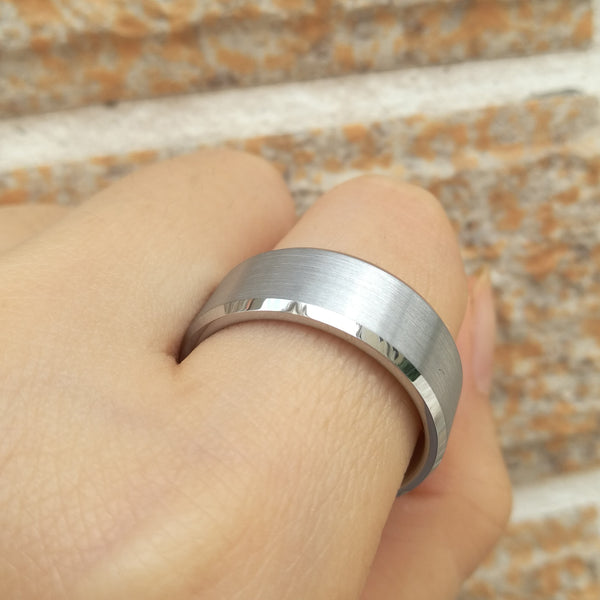 8mm Matte Brushed Silver Tungsten Mens Ring