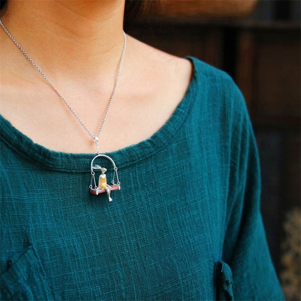 Rabbit Sea Shell & Sterling Silver Womens Necklace