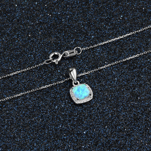 Blue opal womens silver necklace