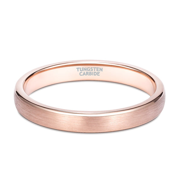 3mm Minimalist Rose Gold Color Womens Ring