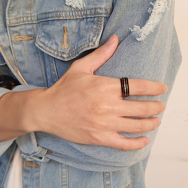 8mm shell, wood and Tungsten mens ring