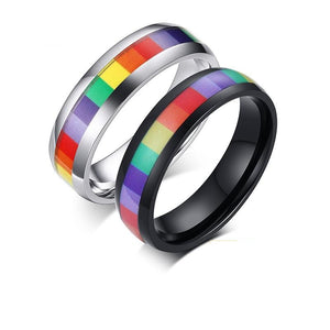 LGBT Rainbow Stainless Steel Rings