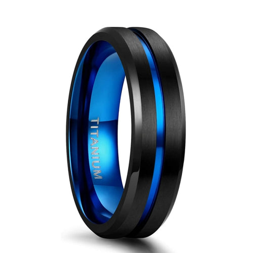 6mm Black & Blue Centre Groove Matte Titanium Unisex Rings