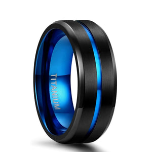 8mm Black & Blue Centre Groove Matte Titanium Unisex Rings