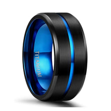 10mm Black & Blue Centre Groove Matte Titanium Unisex Rings