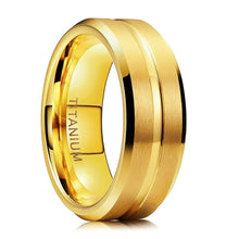 8mm Gold Color Matte Titanium Mens Rings