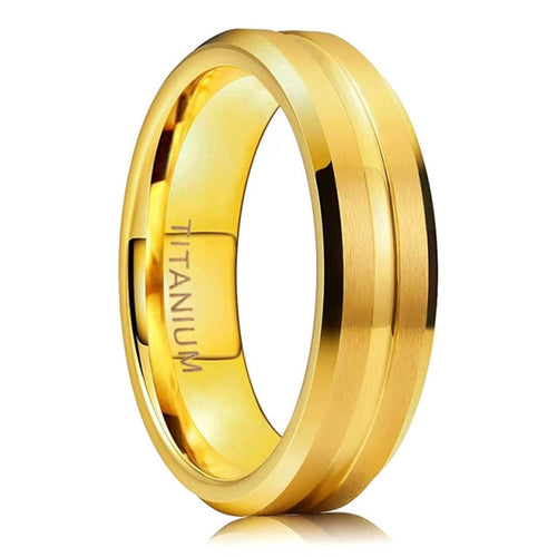 6mm Gold Color Matte Titanium Unisex Rings