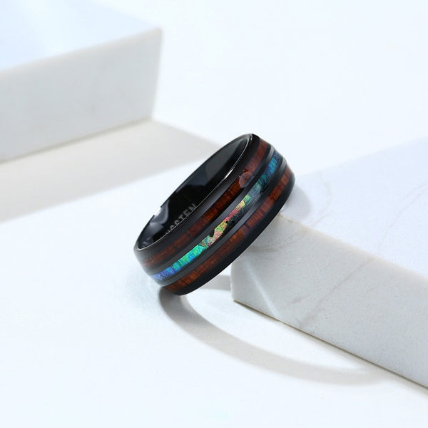 8mm shell, wood and Tungsten black mens ring