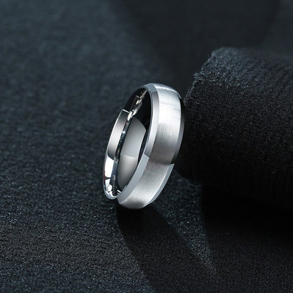 6mm Silver Matte Stainless Steel Mens Ring