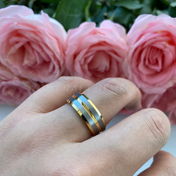 8mm Gold and Silver Color Tungsten Mens Ring