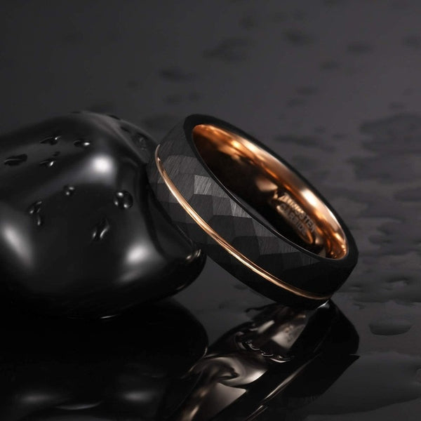 Rose Gold and Black Hammered Ring