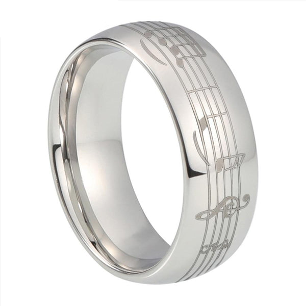 Piano Music Notes Silver Tungsten Ring