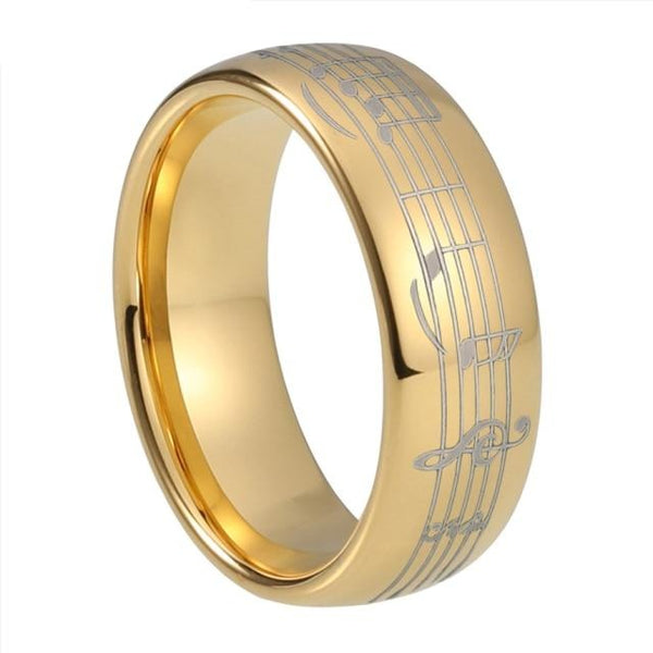 8mm Piano Note Music Gold Tungsten Ring