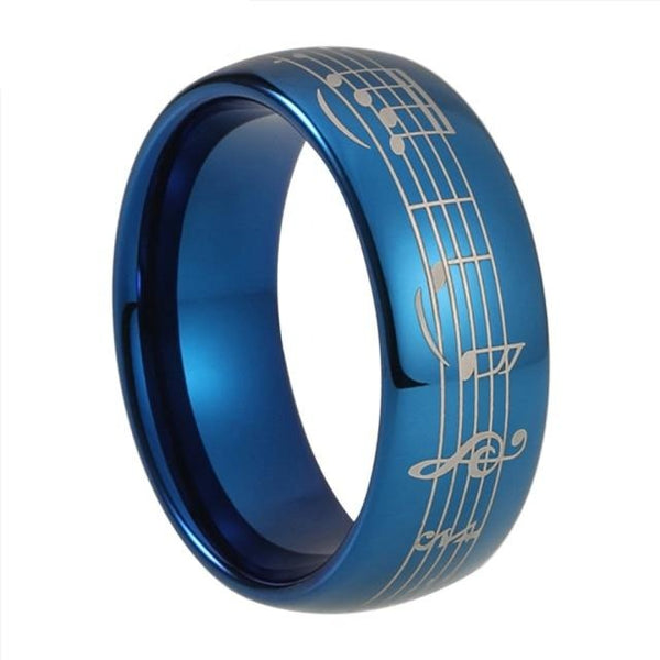 Piano Music Notes Blue Tungsten Ring