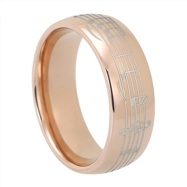 Piano Note Music Rose Gold Tungsten Ring