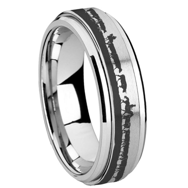 Cowboys Horses Cattle Tungsten Silver Spinner Ring
