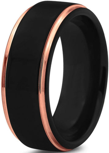 8mm/6mm Black & Rose Gold Polished Edge Tungsten Ring