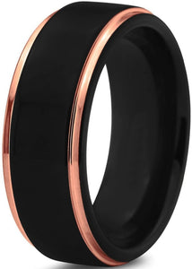 8mm/6mm Black & Rose Gold Polished Edge Tungsten Promise Rings
