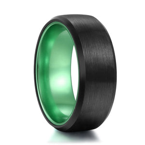 8mm Green & Black Tungsten Mens Rings