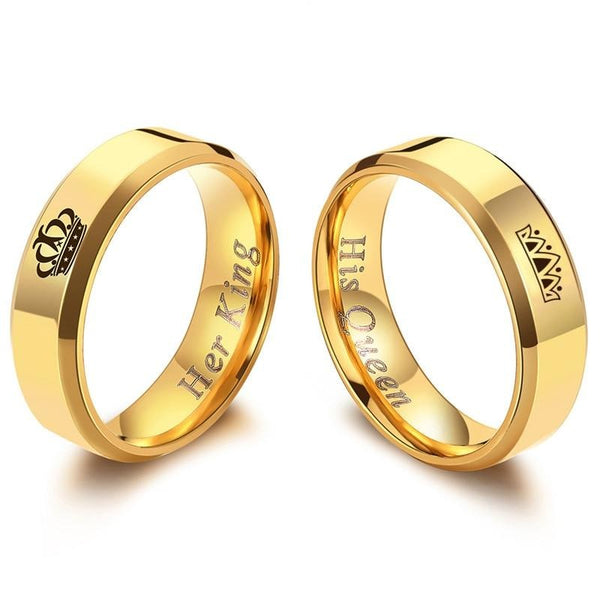 King and Queen Polished Gold Couples Rings