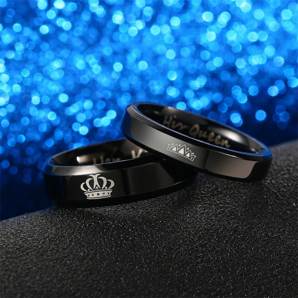King and Queen Polished Black Couples Rings