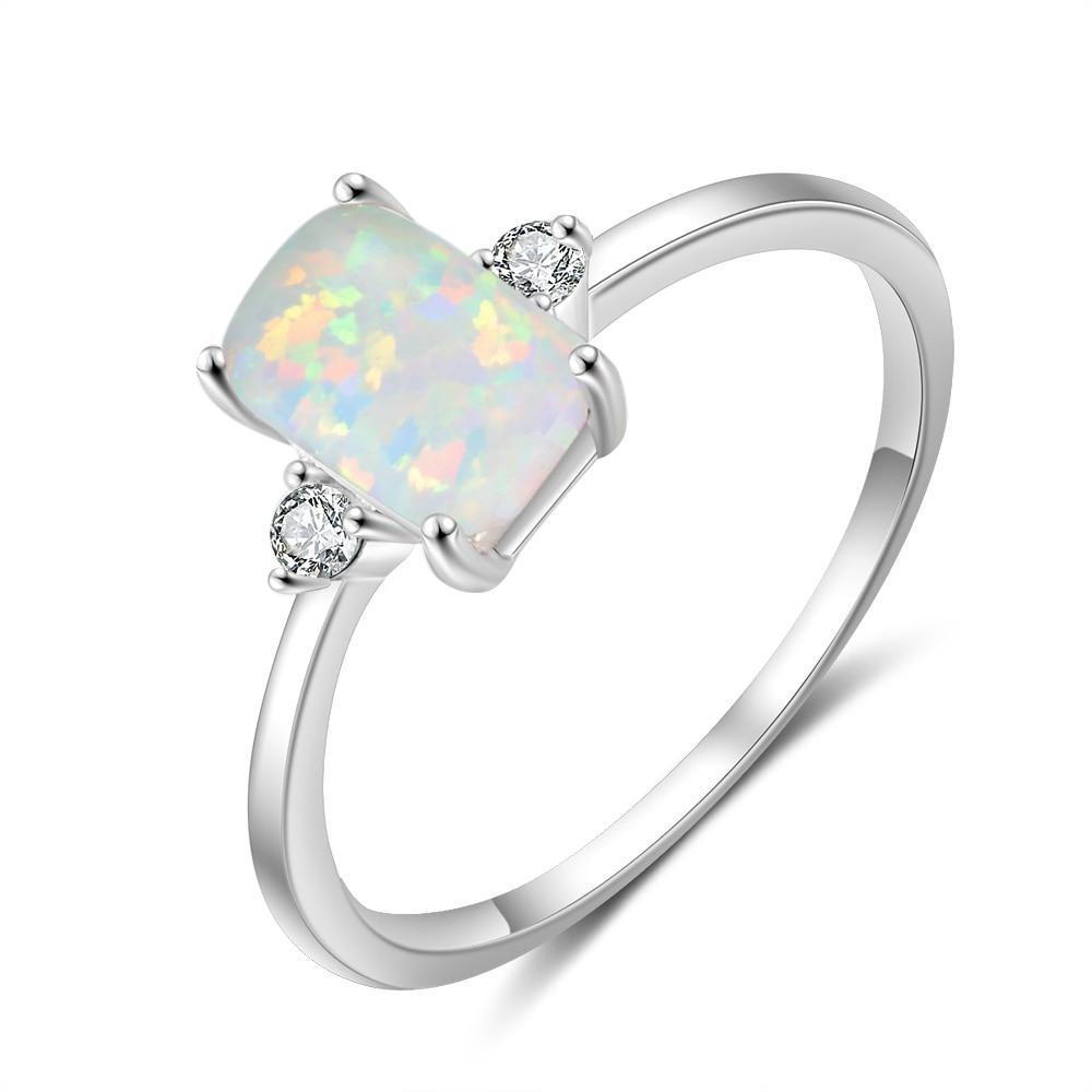 Promise Rings - Rectangular Created White Opal With Zirconias Womens Ring