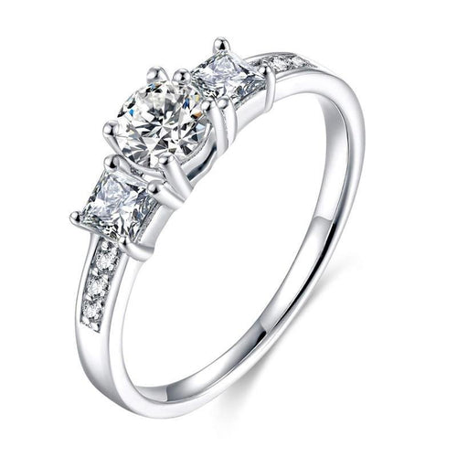 Promise Rings - Round & Square Cut Cubic Zirconia Womens Ring
