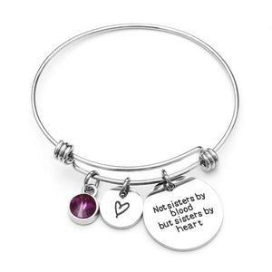 Bracelets - Sisters By Heart Not Blood Custom Birthstone Friendship Bracelets