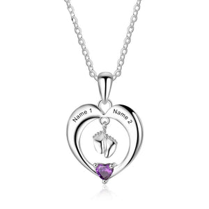 Necklaces - Two Baby Feet 925 Sterling Silver Heart Necklace - 1 Birthstone & 2 Engravings