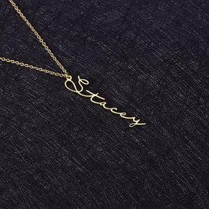 Necklaces - Vertical Handwriting Personalized Name Necklace (3 Colors)