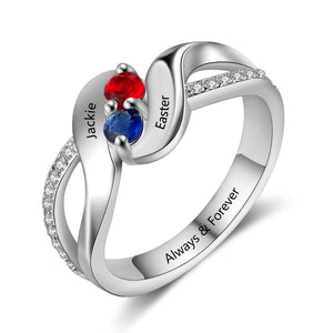 Promise Rings - Wavy 925 Sterling Silver Womens Ring - 2 Birthstones & 3 Engravings