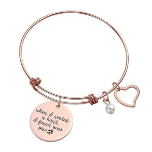 "Bracelets - ""When I Needed A Hand, I Found Your Paw"" Heart Pet Paw Bangle (2 colors)"