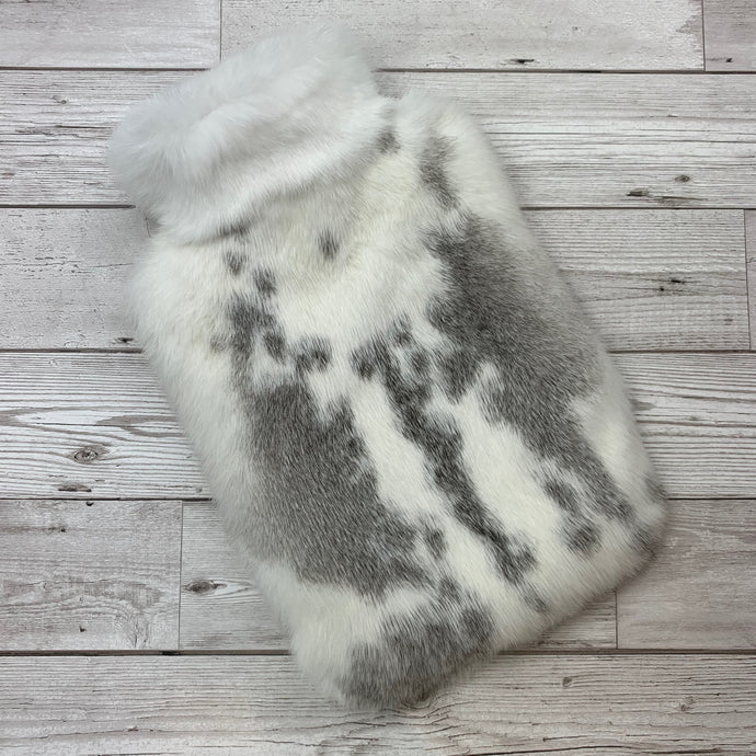 Photo of a grey and white luxury rabbit fur hot water bottle -244-1