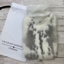 Photo of a grey and white luxury rabbit fur hot water bottle -244-2