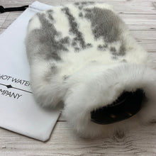 Photo of a grey and white luxury rabbit fur hot water bottle -244-3