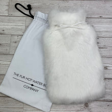Luxury White Fur Hot Water Bottle - Large - Luxury Rabbit Fur