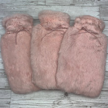 Pink Luxury Rabbit Fur Hot Water Bottle - Large - Peony Pink