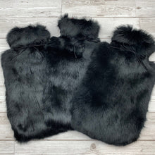 Black Luxury Rabbit Fur Hot Water Bottle - Large - The Ultimate Gift