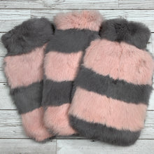 Pink and Grey Luxury Fur Hot Water Bottle - Luxury Hot Water Bottles