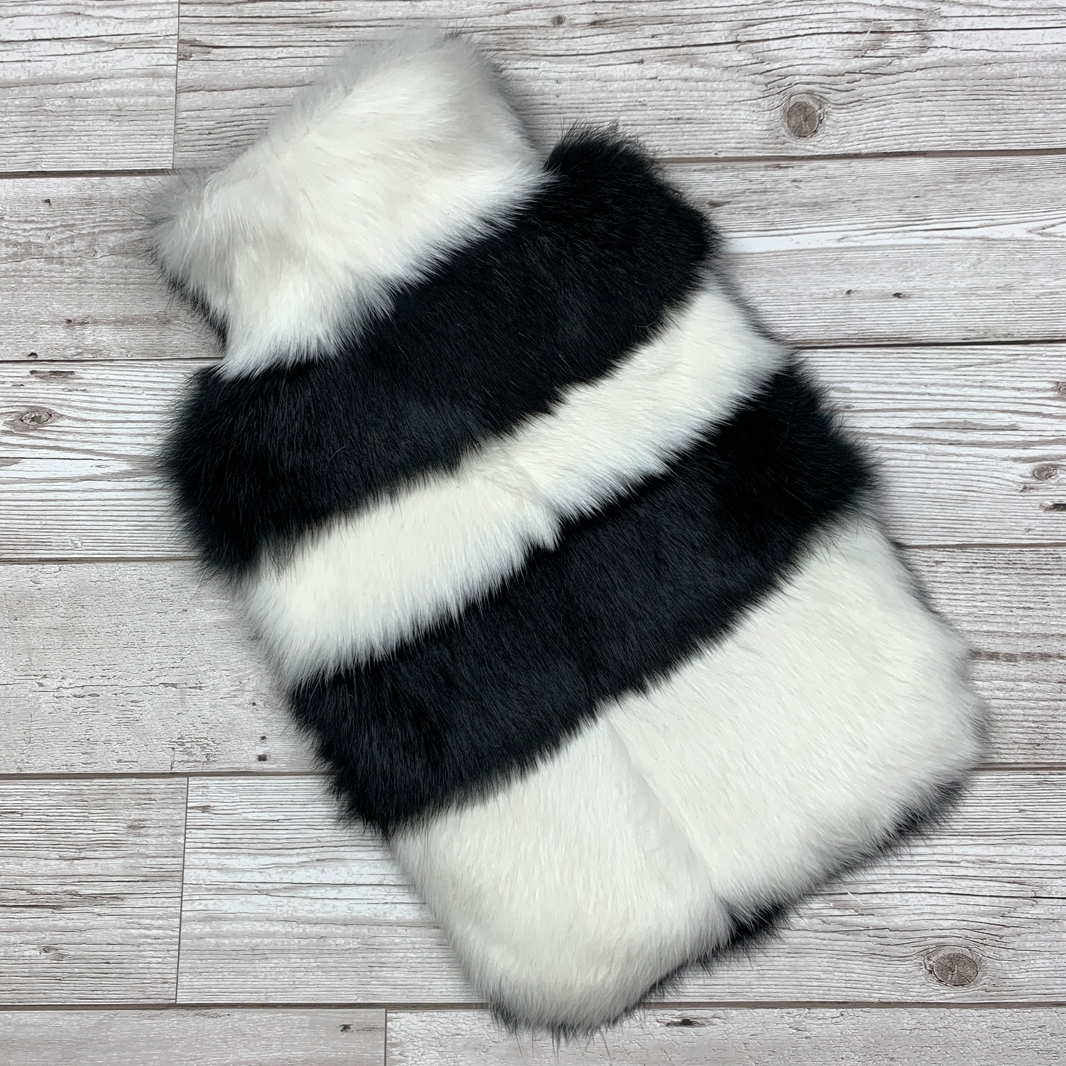 Black and White Stripe Luxury Fur Hot Water Bottle
