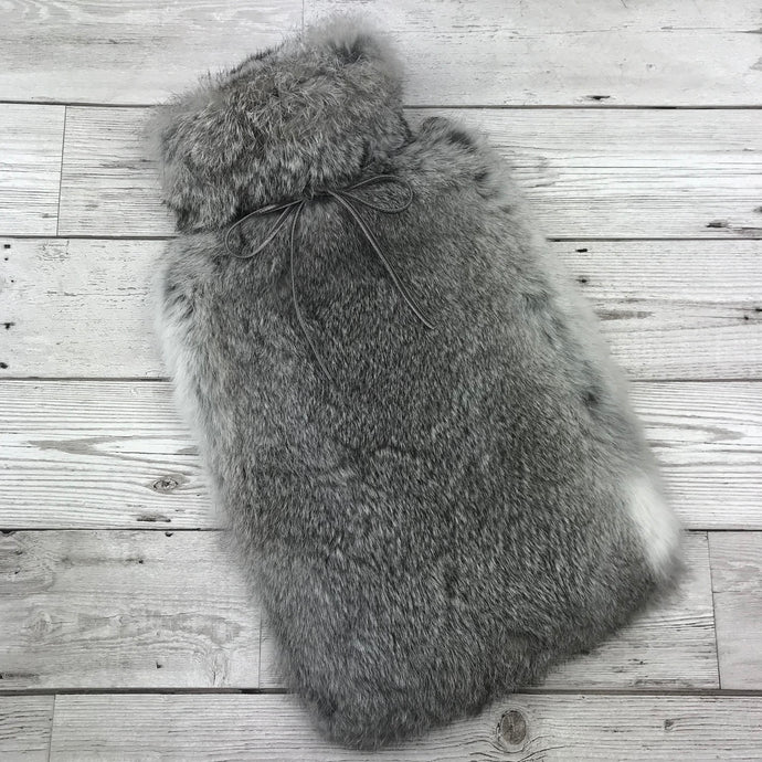 Photo of a Rabbit Fur Hot Water Bottle Chinchilla Grey 1