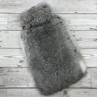 Real Rabbit Fur Hot Water Bottle Chinchilla Grey 1