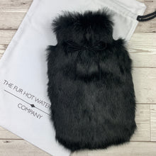 Black Real Fur Hot Water Bottle - Small - Luxury Gift