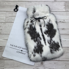 black and white real rabbit fur hot water bottle cover