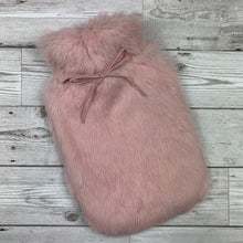Peony Pink Fur Hot Water Bottle - Small - Luxury Rabbit Fur Hot Water Bottle