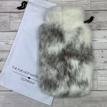 Grey and White Luxury Rabbit Fur Hot Water Bottle - Large - #255 - Premium